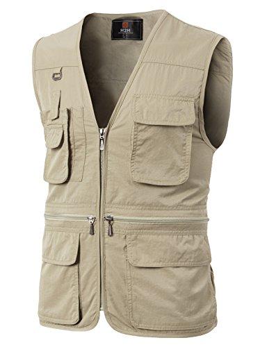 H2H Mens Casual Multi-Pockets Outdoors Travels Fishing Hunting Sleeveless Vest Ivory US XLAsia 2XL KMOV0113