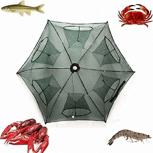 Portable Folded Fishing Net Fish Shrimp Minnow Crayfish Crab Baits Cast Mesh Trap automatic  Easy Use Hexagon 6 Hole Cage Crab Fish Minnow Crawdad Shrimp 6 sides 12 Holes