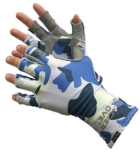 Glacier Glove Fingerless Islamorada Sun Glove Blue Camo Medium