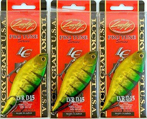 Bundle - Set of 3 Lucky Craft LVR Rattle Bait 1 OZ LVR D15-280 Aurora Green Perch B2