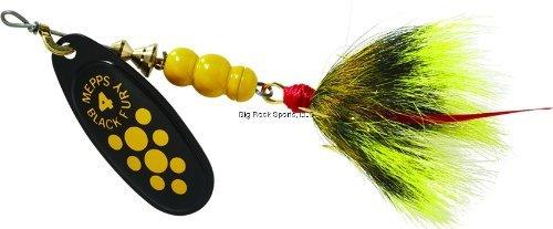 Mepps Black Fury Dressed Treble Fishing Lure 13-Ounce Yellow DotBlack Yellow Tail