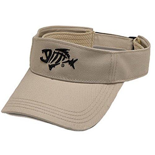G Loomis Skeleton Fish Logo Anti Glare Cotton Twill Velcro Strap Visor - Stone
