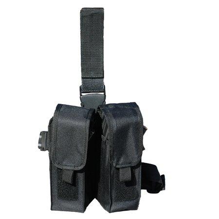 Tactical Drop Double Pocket Leg Magazine Pouch - Holds 6 - Black - Galati Gear