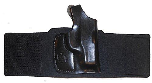 GLOCK 42 Pro Carry Ankle Holster Right Hand Black Leather Neoprene Gun Holster
