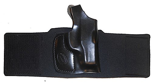KAHR ARMS P380 CW380 Pro Carry Ankle Holster Right Hand Black Leather Neoprene Gun Holster