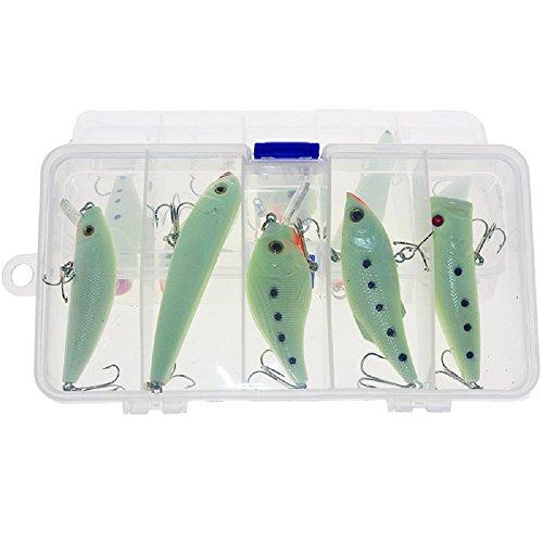 5pcslot Night Fishing Lure bait Kit VIB Popper Crankbait Minnow Pencil Luminous Artificial Bait With Lure Box