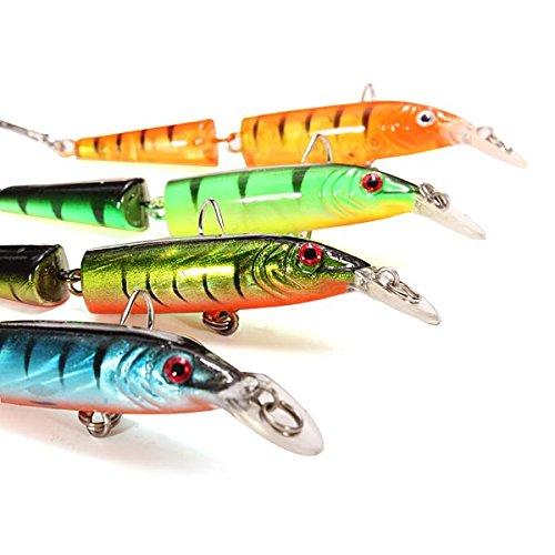 Plastic 2Sections Bass Minnow Bait Fishing Lures Float Treble Hooks