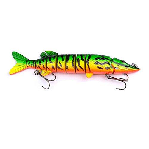 bouti1583 Life-Like Hard Multi Jointed Fishing Lure Swimbait Bass Minnow Crankbait Hook Tackle 8 inch