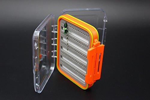 Plastic Waterproof Fly Fishing Box Orange Super ABS Double Side Clear Foam Magnetic Bottom Tackle Box 152x100x44mm