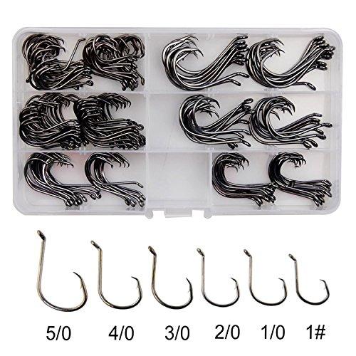 Shaddock Fishing   180pcsbox 7384 2X Strong Custom Offset Sport Circle Hooks Sharp Black High Carbon Steel Octopus Fishing Hooks-Size1-50