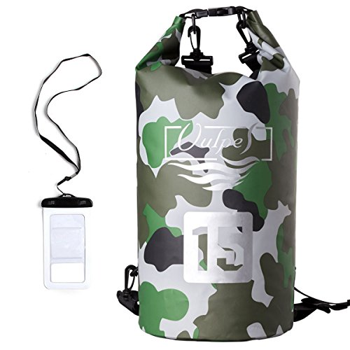 Vulpes Blue Camo Vinyl Coated Waterproof Dry Bag - Holds up to 15L - 500D Fabric - Adjustable Shoulder Strap - Ideal for the beach hiking swimming and more