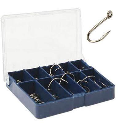 Timemall Carbon Steel Fish Hook 3 to 12 70-80 PCS 1 Box Ten Grid Bar Hook Fishing Hooks with HoleDark Blue