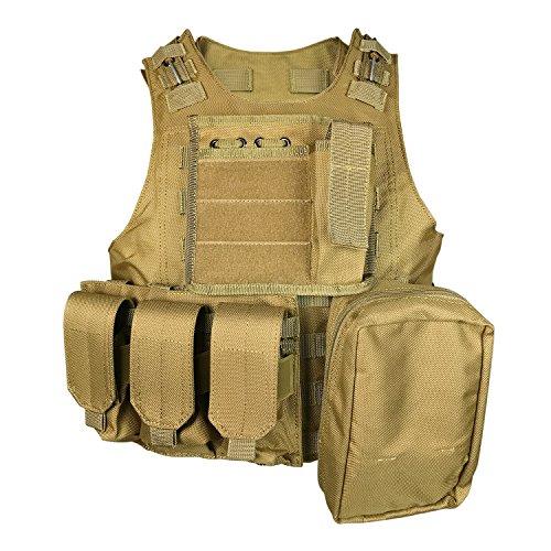 SMARTSTANDARD Tactical Vest Law Enforcement Molle Airsoft Modular CS field Army Fans Outdoor Supplies Training Vest KHaki