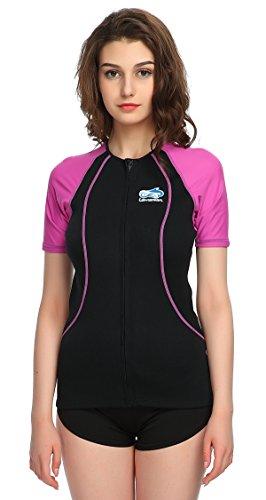Lemorecn Wetsuits 15mm Neoprene Rash Guard for Men and Women Scuba Diving Short Sleeve Shirt 2067purple10