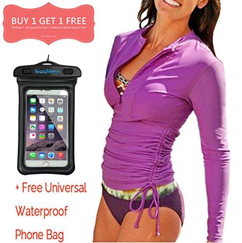 Womans Rash Guard Women-Womens Rashguard Long Sleeve Wetsuit Top Womens Swimming Shirt Sun Protection UPF 50 SearoMance Purple S