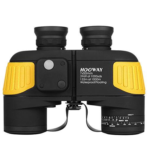 Hooway 7x50 Waterproof Fogproof Military Marine Binoculars w Internal Rangefinder Compass for NavigationBoatingFishingWater SportsHunting and More