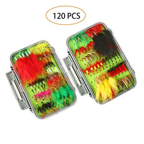 FOCUSER Flies for Fly Fishing DryWet Fly Fishing Lures Fly Fishing Gear for Bass Trout Salmon with Storage Organizer Box Fly Boxes Lure Boxes Planet Box Gifts Accessories Assorted