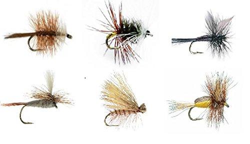 Feeder Creek Fly Fishing Assortment - 6 Trout Crushing Patterns of Dry Flies Renegade Black Gnat Elk Hair Caddis Tan Bivisible Brown Adams Parachute Yellow Humpy Sizes 12-14