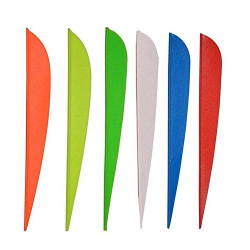 3 Archery Vanes Fletches Plastic Crossbow Arrow Fletching 50-pack 6 Color Mixed Random Color