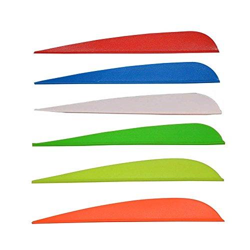 3 Plastic Archery Fletches Vanes Fletching for Crossbow Fiebrglass Arrow 100-pcs 6 Color Mixed Random Color
