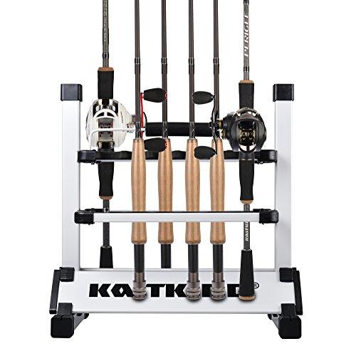 KastKing Rack em Up Portable Aluminum Fishing Rod Holder - 12 Rods Rack SilverBlack