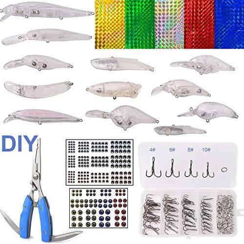AGOOL Unpainted Fishing Lures Kit - 363PCS Blank Hard Crankbait Lures Hard Bait Bodies Fishing Pliers ScissorsTreble Hooks Split Rings Lure Sticker 3D Eyes DIY Fishing Tackle Kit