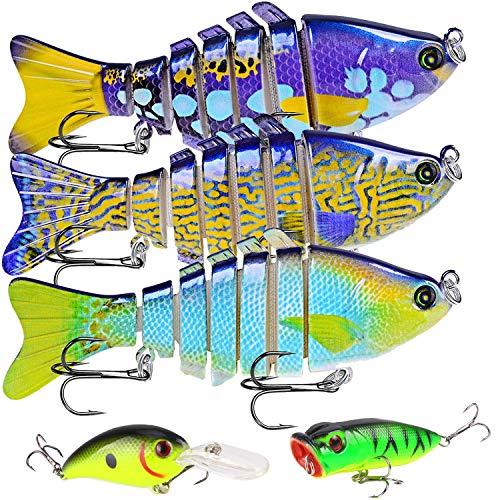 ICEIVY Fishing Lures for Bass 39 inch 7 Segment Multi Jointed Swimbaits Bass Slow Sinking Hard Lure Fishing Tackle Kits Lifelike 5pcs