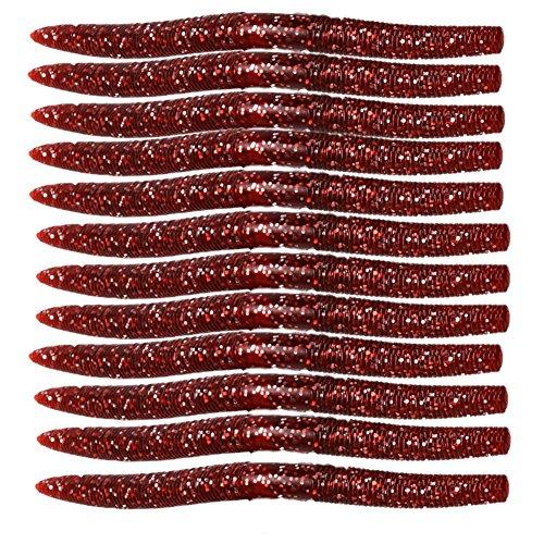 Sougayilang Soft Lures Plastic Swim Worm Senko Bait 12Pcs for Senko Bass Freshwater Saltwater Fishing 12Pcs Red