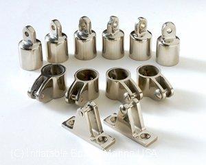 Bimini Top Fittings Kit  Set Hardware - 3 Bow- 1 316 Marine Stainless Steel