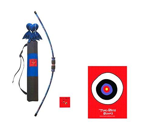 Two Bros Bows Blue Tie Dye Combination Set- 3 Arrows 1 Bow 1 Quiver Bag 1 Bullseye-Toy Archery Set