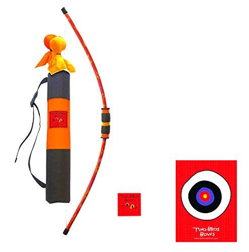 Two Bros Bows Orange Tie Dye Deluxe Combination Set- 3 Arrows 1 Bow 1 Quiver Bag 1 Bullseye-Toy Archery Set