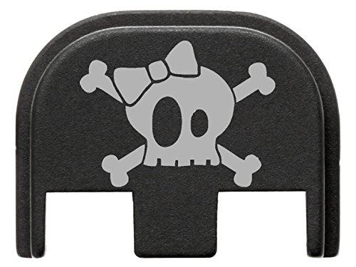 for Glock Gen 5 Rear Slide Cover Plate Black Skull Cross Bones Bow 1