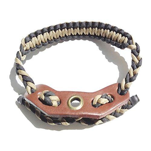 ZSHJG Archery Bow Wrist Rope Widen Bow Sling Adjustable Bow Strap Leather Yoke