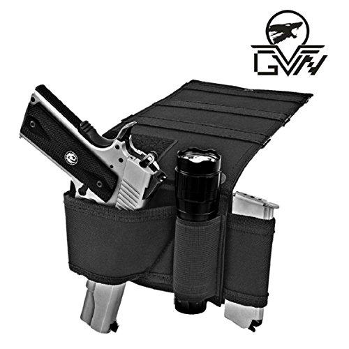 GVN Under Mattress Bed Gun Holster Tactical Adjustable Bedside Handgun Holster Under Car Seat Pistol Holder Closet Wall Hanging Holster with Tactical Flashlight Loop Magazine Holder