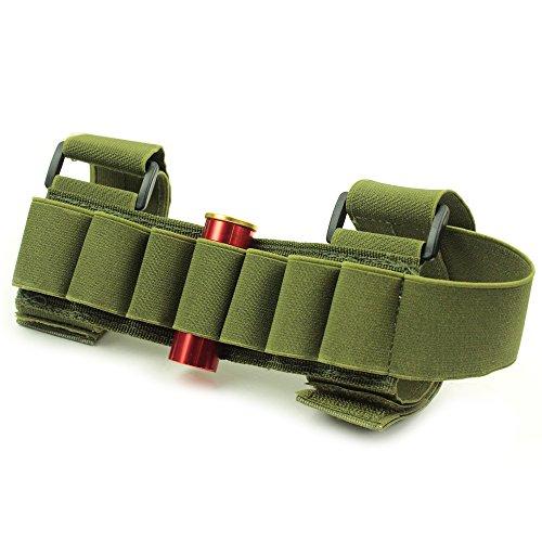 Tactical Buttstock Shotgun Shell Holder Carrier Ammo pouch For 12G20G LEFTRIGHT HAND green