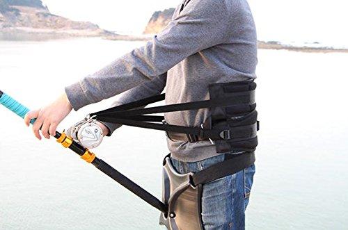 Antwalking Sea Fishing Boat Fishing Fighting Waist Support Protecting Belt Fishing Rod Holder Bracket Set Kit Black