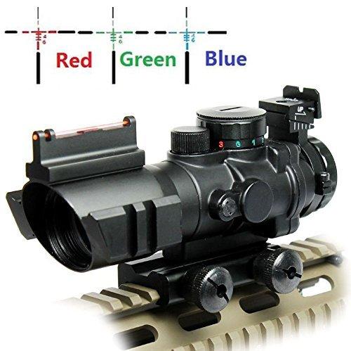 UUQ Prism 4x32 RedGreenBlue Triple Illuminated Rapid Range Reticle Rifle Scope WTop Fiber Optic Sight and Weaver Slots