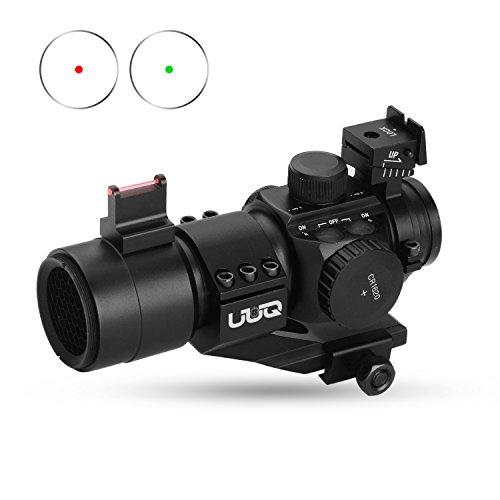 UUQ 1X30 Green Red Dot Sight for Rifles Shotguns WTop Fiber Optic Sight Picatinny Cantilever PEPR Mount