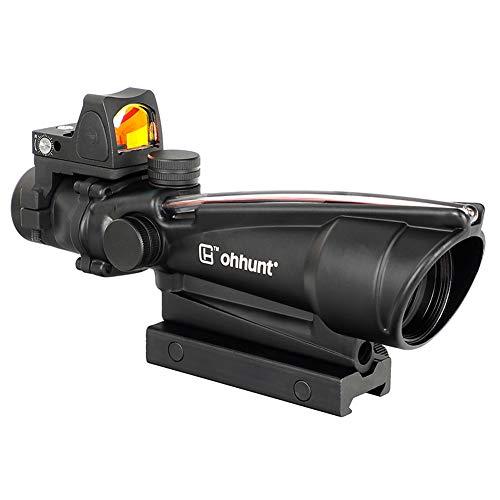 ohhunt 35X35 Horseshoe Dot Fiber Optic Reticle Rifle Scopes Push Button Switch 3 MOA Red Dot Sight