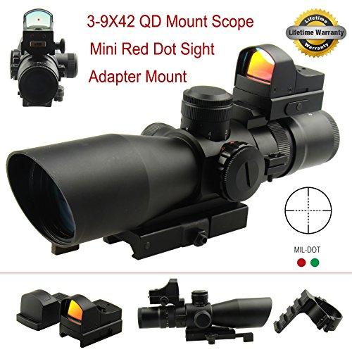 PROSUPPLIES -- FS Gen II Tactical 3-9X42 QD Mount Red Green Illumination Scope with mini Red Dot Sight
