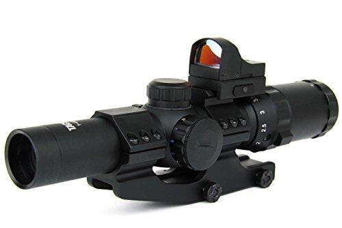 TacFire 1-4 x 24mm Tactical Rifle Scope GreenRedBlue Illuminated P4 Sniper Reticle with Mini Red Dot
