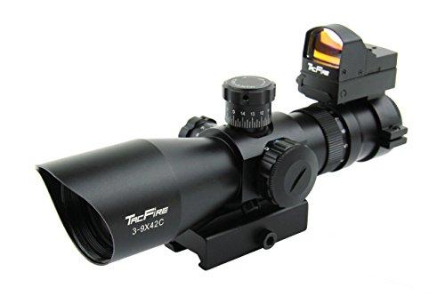 TacFire 3-9x42 Compact CQB Rifle Scope GreenRedBlue Illuminated Rangefinder Reticle with Mini Red Dot