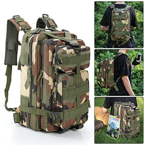 Tactical BackpackBienna 3P Military Rucksack Bug Out Bag 30L Medium 600D Nylon Waterproof Molle Gear Army Assault Combat Pack for Sport Outdoor Camping Hiking Trekking Men Kids Women-CM