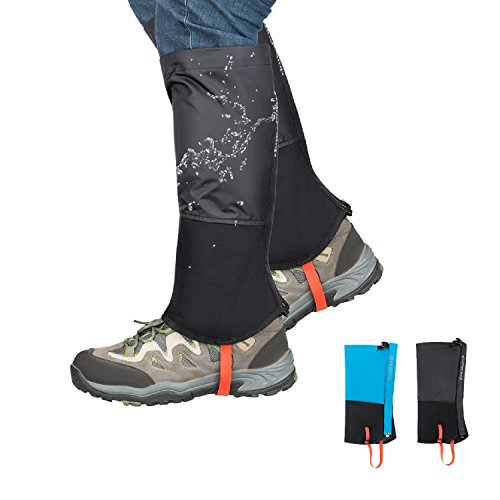 KingCamp Unisex Ultra-Light Waterproof Outdoor Hiking Walking Climbing Hunting Snow Legging Gaiters 1 Pair Black L