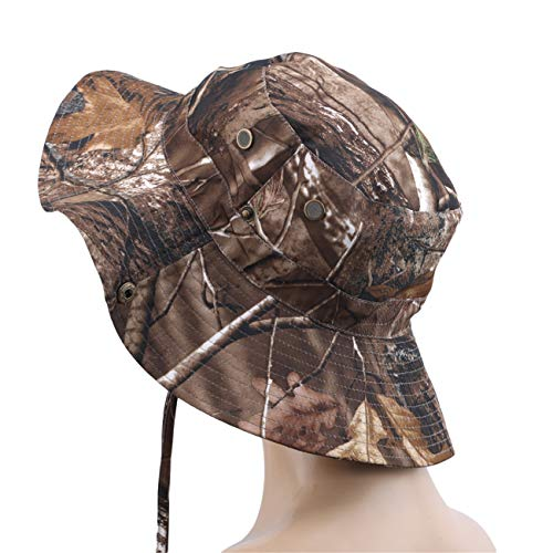 ZALING Women Sports Boonie Washed Cotton Twill Chin Cord Military Camouflage Hunting Hat