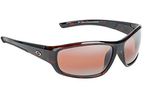 Strike King S11 Optics Shiny Brown Tortishell Full Frame Sunglasses with Polarized Dark Amber Brown Lenses