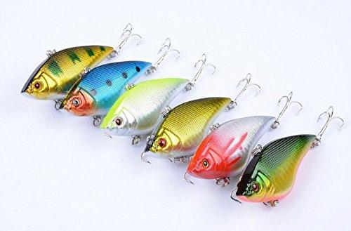 Fishcm Pack of 6 Rattling game VIB fishing lures Crank Hard plastic Fishing baits Vibe Vibration Bass Trout fishing tackles 7cm27158g
