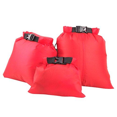 3 Pack All Purpose Dry Sack Lightweight Waterproof Dry Bag Great for Outdoor Camping Backpacking Boating Kayaking Rafting or Adventure Travel - Orange