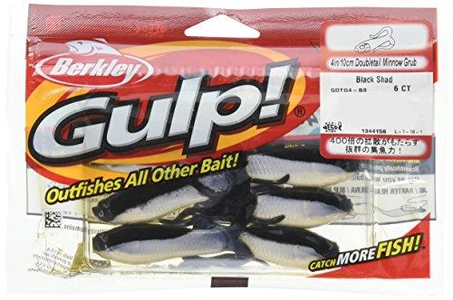 Berkley Gulp Double Tail Minnow Grub Black Shad Fishing Bait Multi 4  10cm