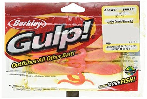 Berkley Gulp Double Tail Minnow Grub Pink Shine Fishing Bait Multi 4  10cm
